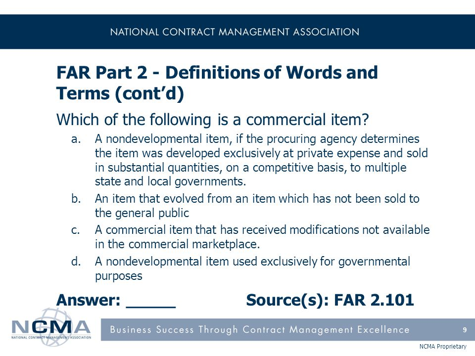 FAR Part 3 - Improper Business Practices & Personal Conflicts of Interest