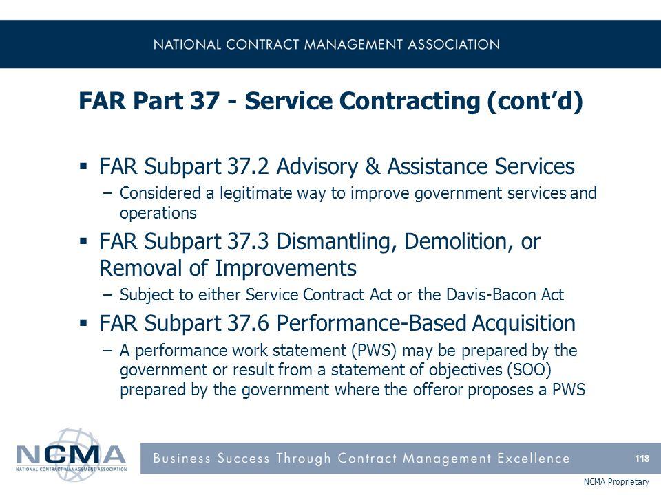 FAR Part 37 - Service Contracting (cont'd)