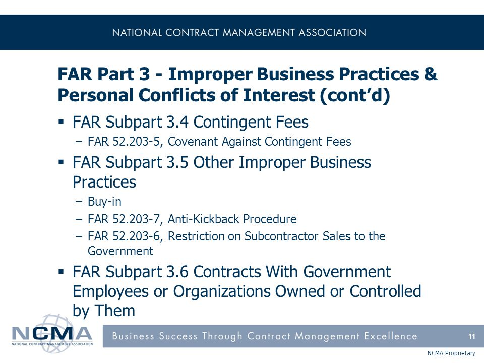 FAR Part 3 - Improper Business Practices & Personal Conflicts of Interest (cont'd)
