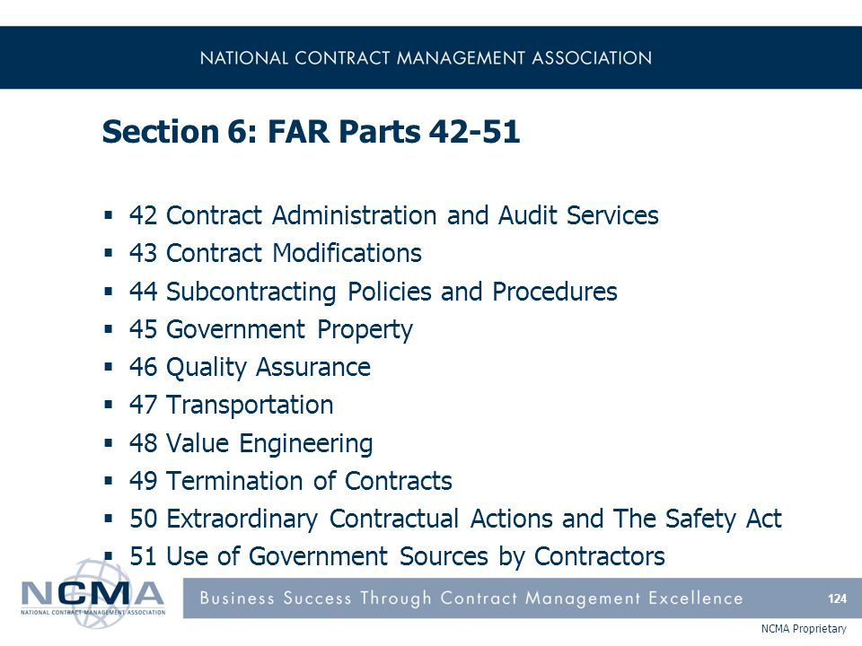 FAR Part 42 - Contract Administration and Audit Services
