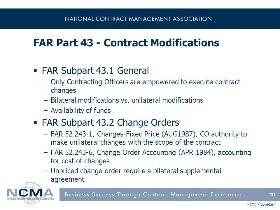 FAR Part 43 - Contract Modifications (cont'd)