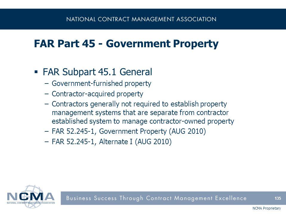 FAR Part 45 - Government Property (cont'd)