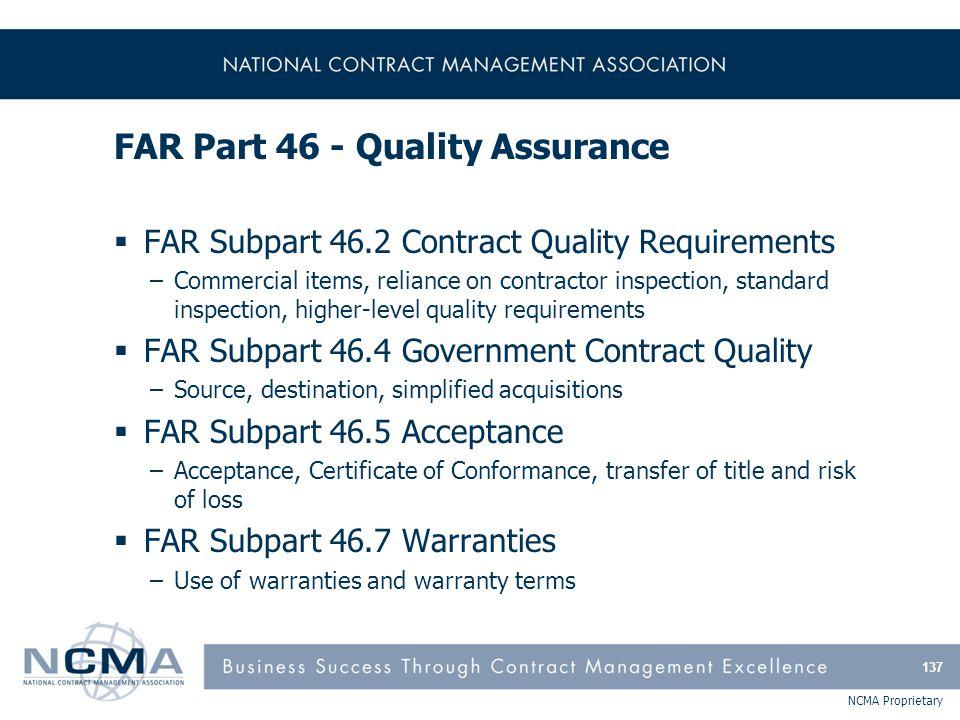 FAR Part 46 - Quality Assurance