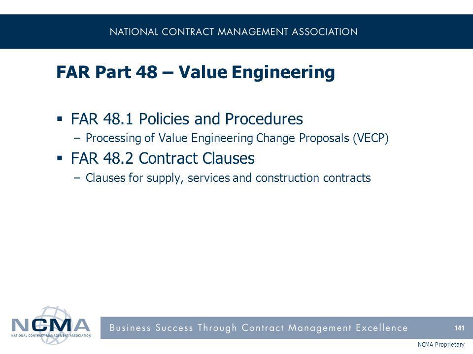 FAR Part 48 – Value Engineering