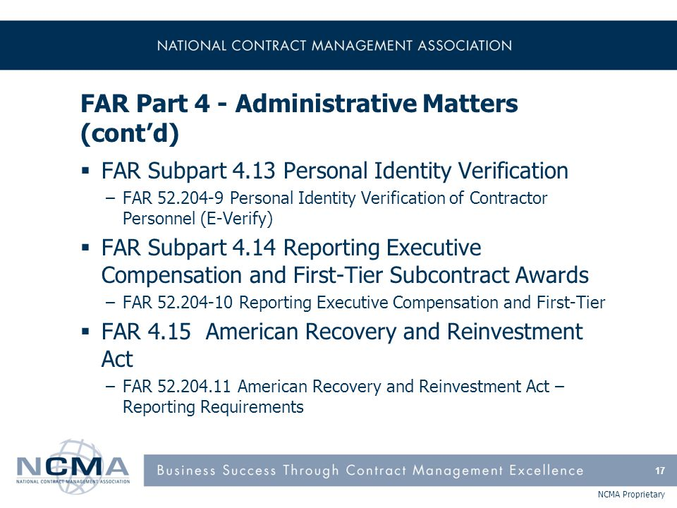 FAR Part 4 - Administrative Matters (cont'd)