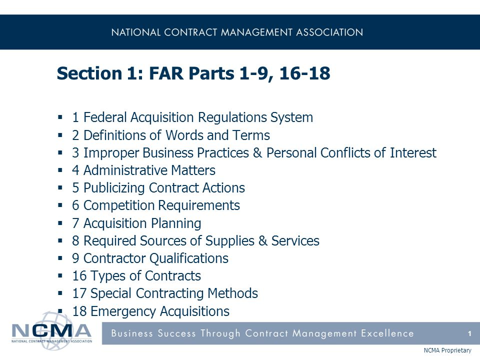 FAR Part 1 - Federal Acquisition Regulations System