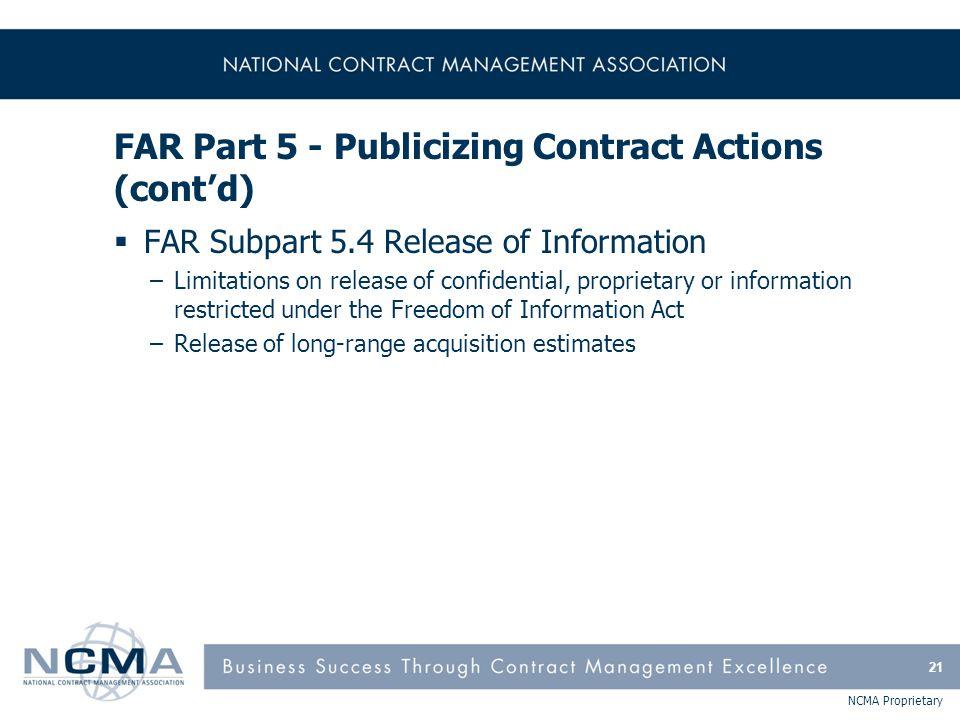 FAR Part 5 - Publicizing Contract Actions (cont'd)