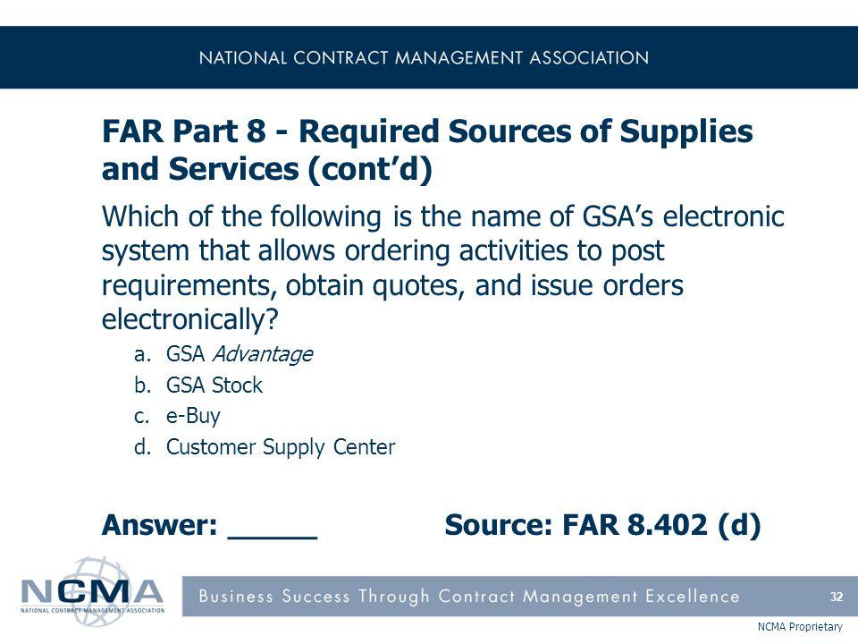 FAR Part 9 - Contractor Qualifications