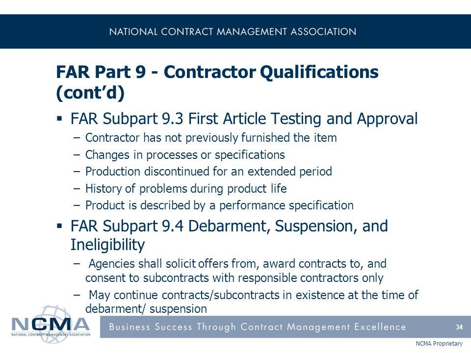 FAR Part 9 - Contractor Qualifications (cont'd)