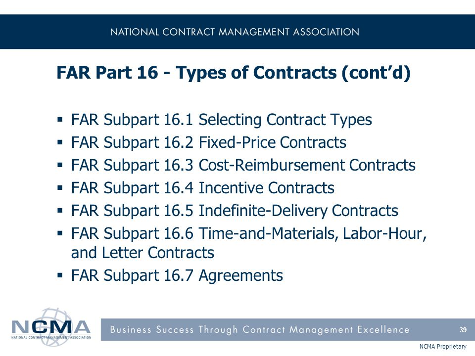 FAR Part 16 - Types of Contracts (cont'd)