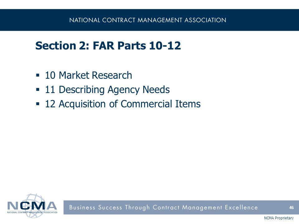 FAR Part 10 - Market Research