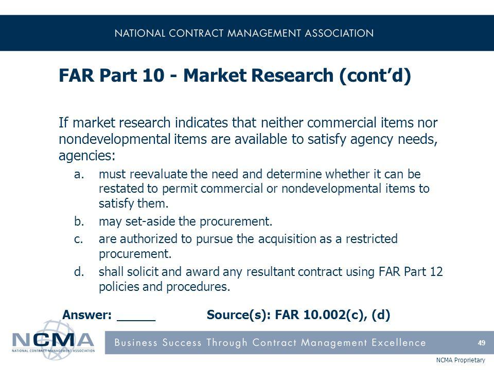 FAR Part 11 - Describing Agency Needs