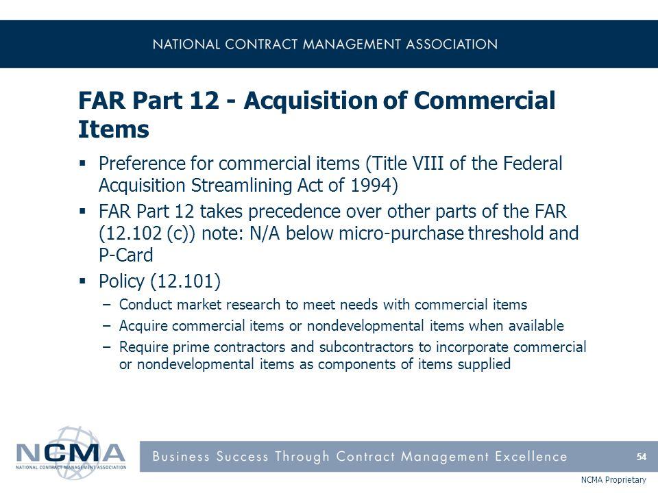 FAR Part 12 - Acquisition of Commercial Items (cont'd)
