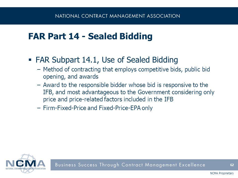 FAR Part 14 - Sealed Bidding (cont'd)