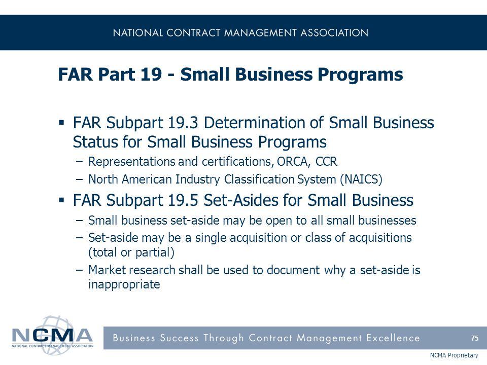 FAR Part 19 - Small Business Programs (cont'd)