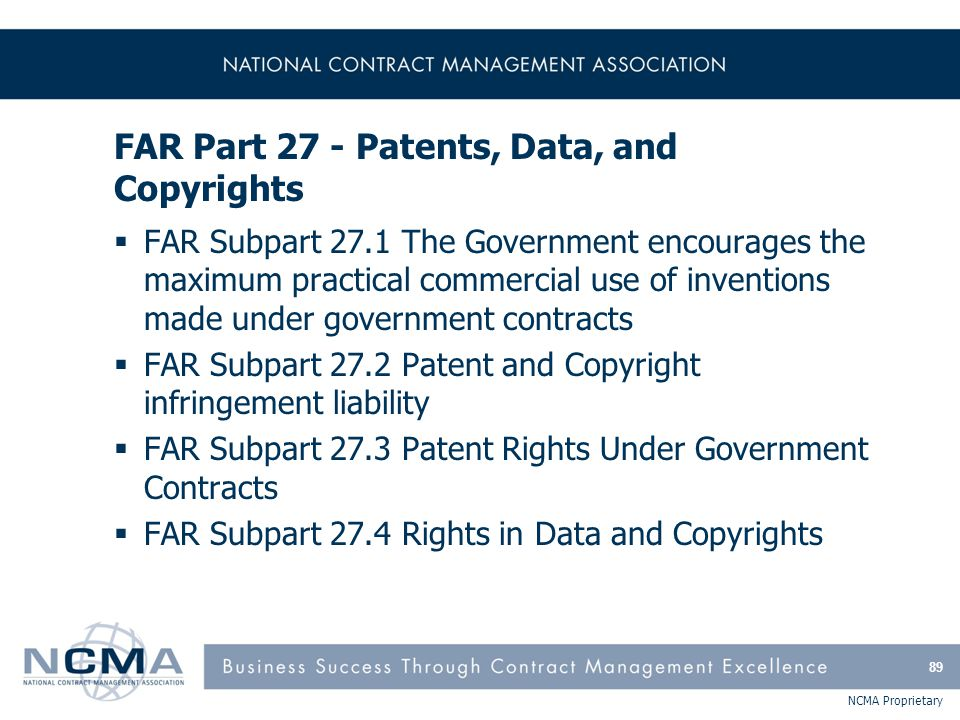 FAR Part 27 - Patents, Data, and Copyrights (cont'd)