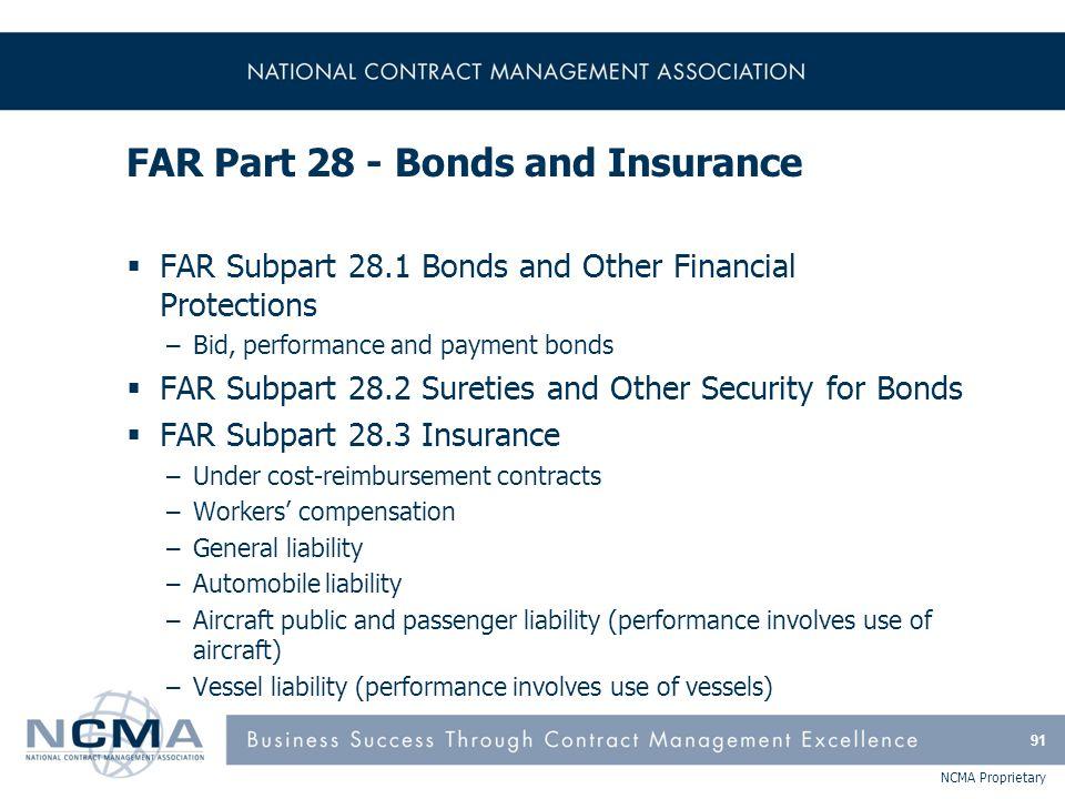 FAR Part 28 - Bonds and Insurance
