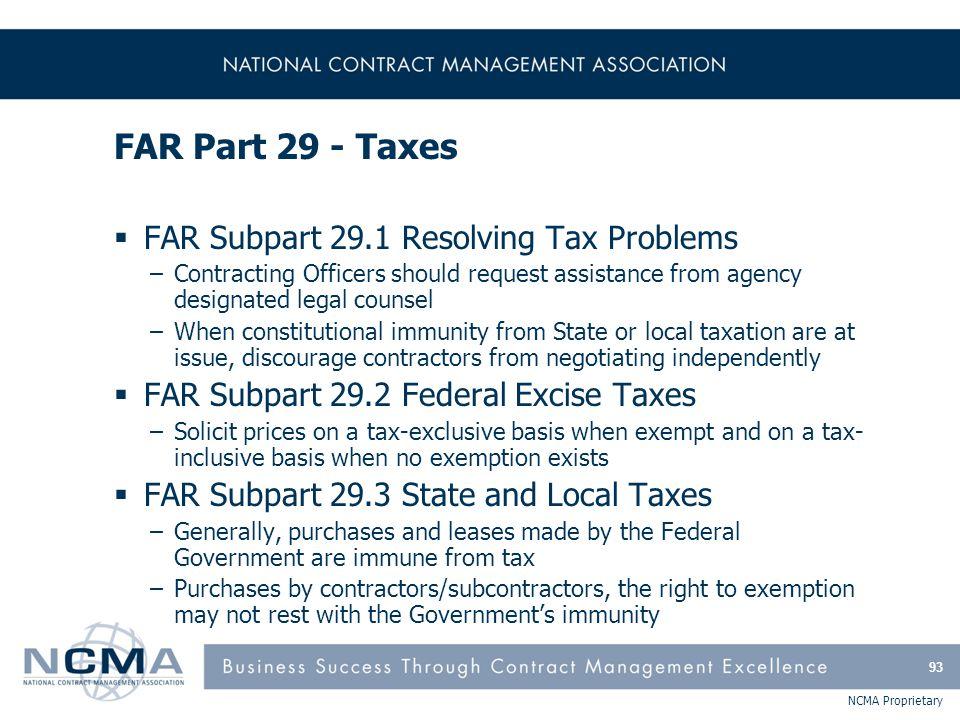 FAR Part 29 – Taxes (cont'd)