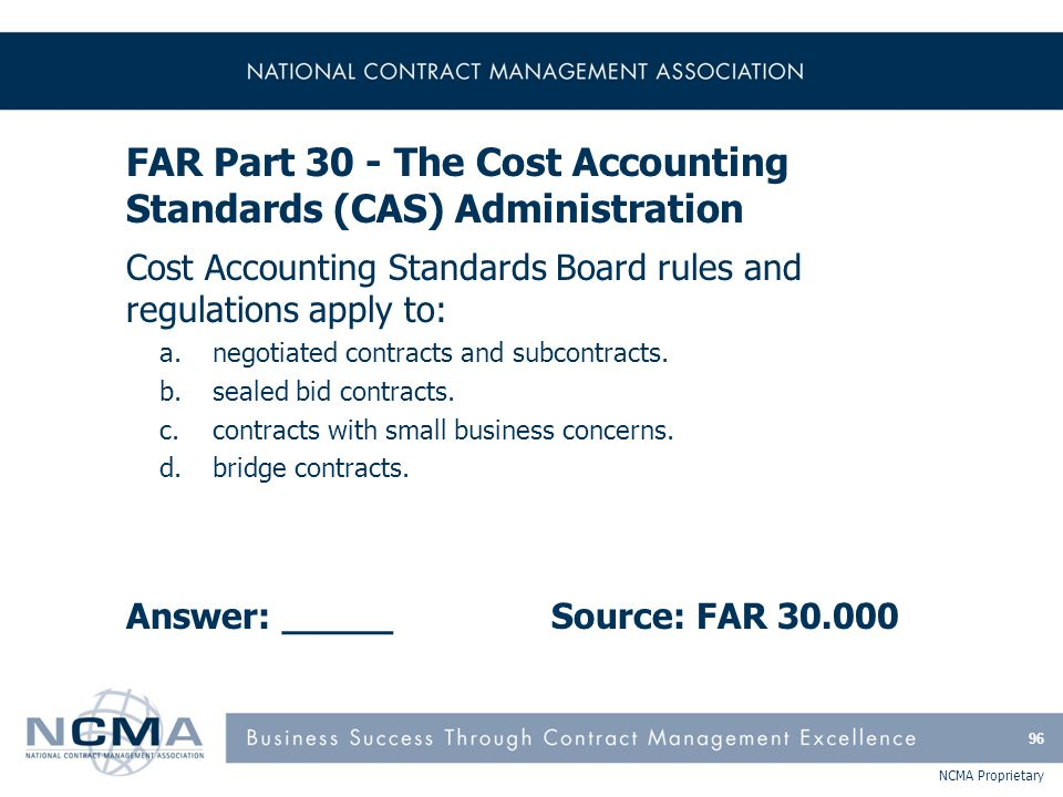 FAR Part 31 - Contract Cost Principles and Procedures