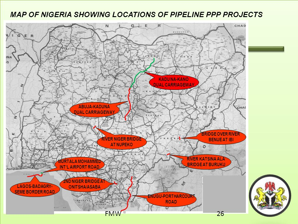 MAP OF NIGERIA SHOWING LOCATIONS OF PIPELINE PPP PROJECTS