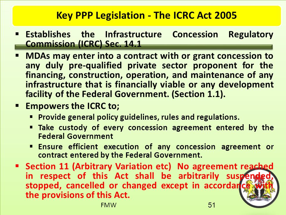 Key PPP Legislation - The ICRC Act 2005