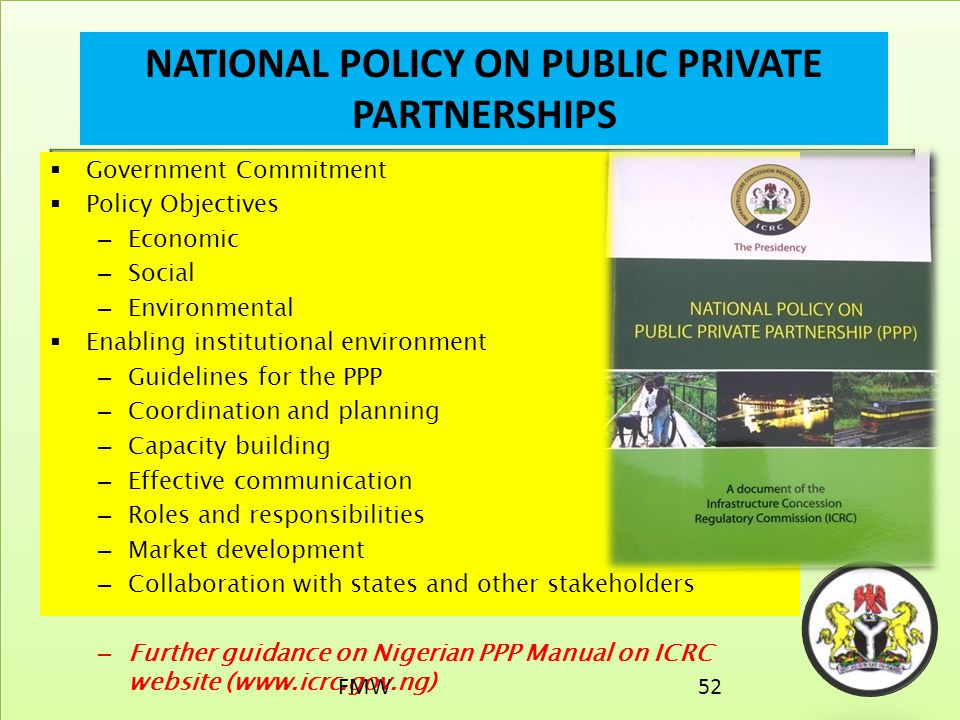 NATIONAL POLICY ON PUBLIC PRIVATE PARTNERSHIPS