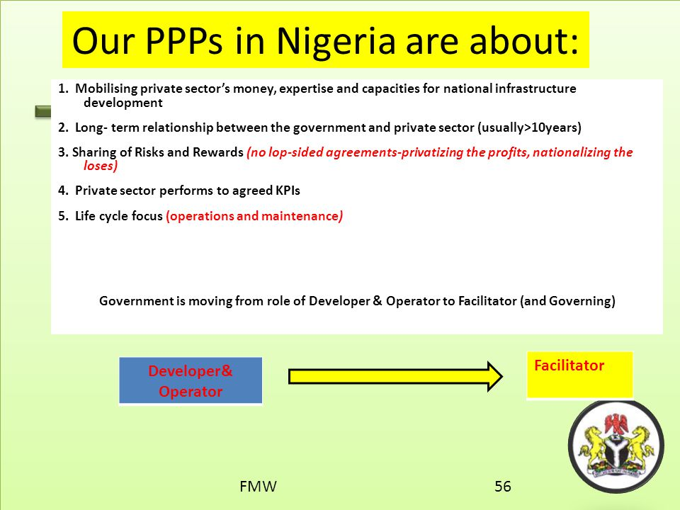 Our PPPs in Nigeria are about: