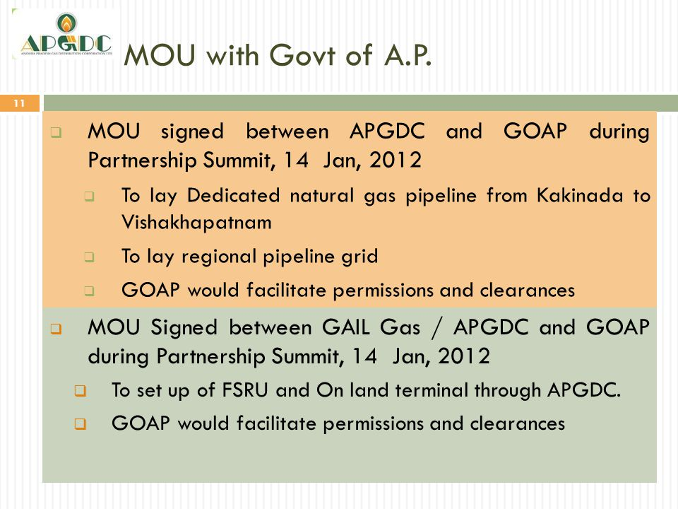 MOU with Govt of A.P. MOU signed between APGDC and GOAP during Partnership Summit, 14 Jan, 2012.