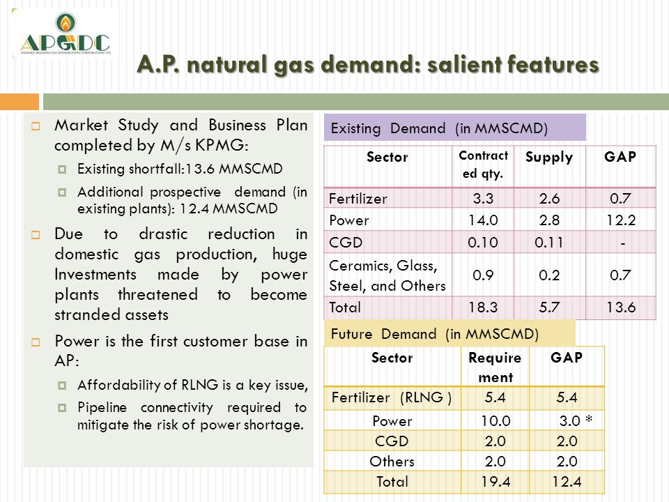 A.P. natural gas demand: salient features