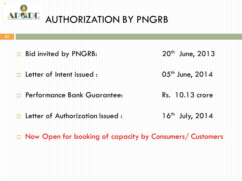 AUTHORIZATION BY PNGRB