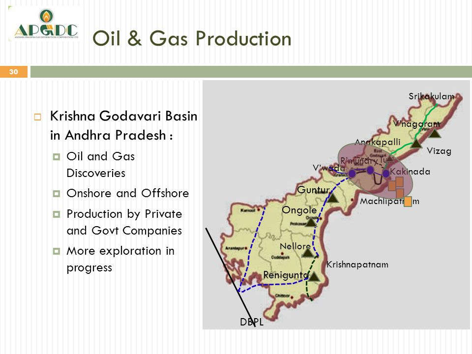 Oil & Gas Production Krishna Godavari Basin in Andhra Pradesh :