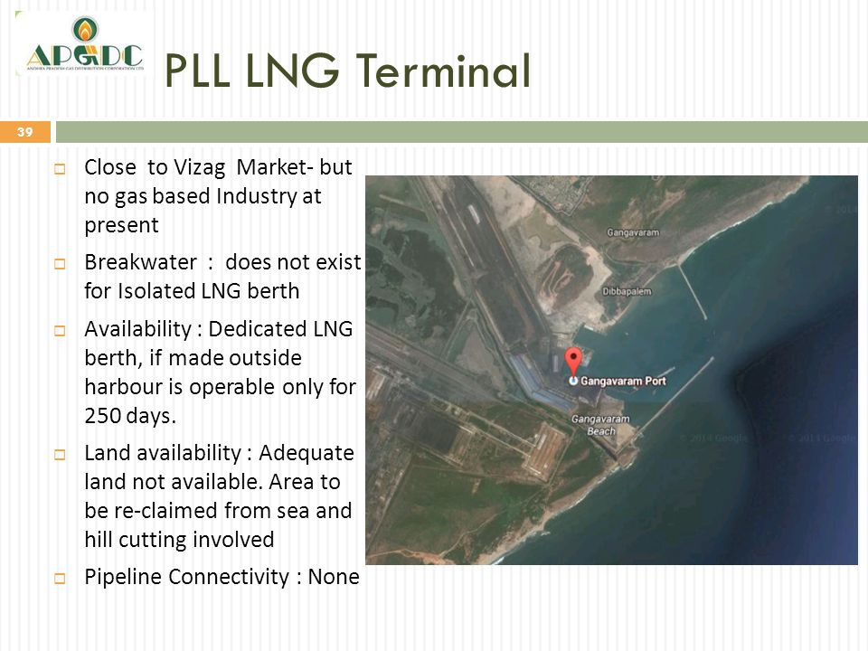 PLL LNG Terminal Close to Vizag Market- but no gas based Industry at present. Breakwater : does not exist for Isolated LNG berth.