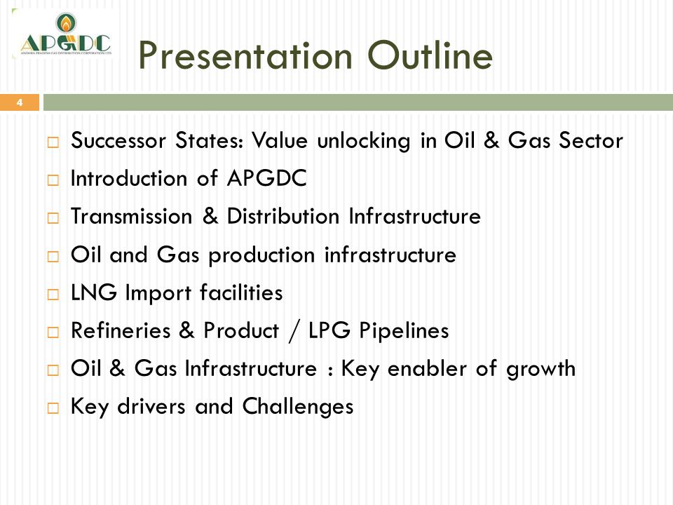 Presentation Outline Successor States: Value unlocking in Oil & Gas Sector. Introduction of APGDC.