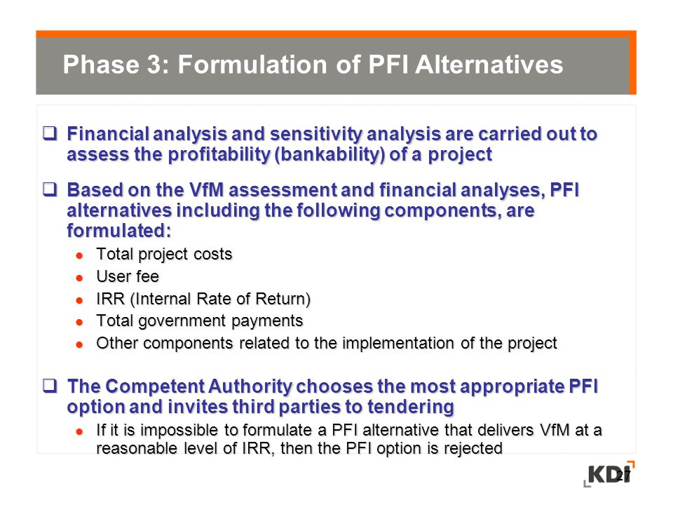 Phase 3: Formulation of PFI Alternatives