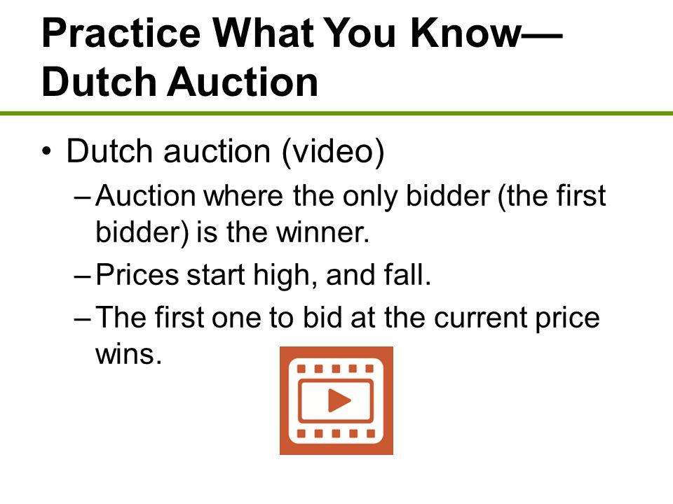 Practice What You Know— Dutch Auction