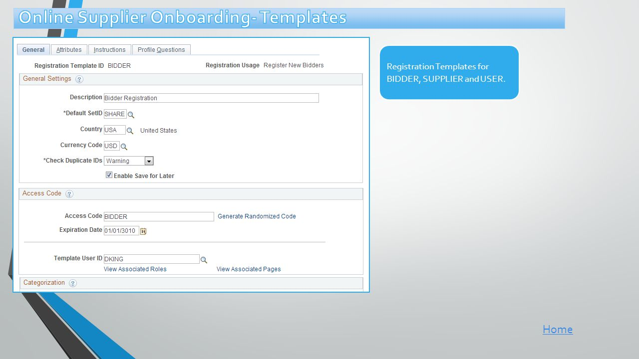 Online Supplier Onboarding- Templates