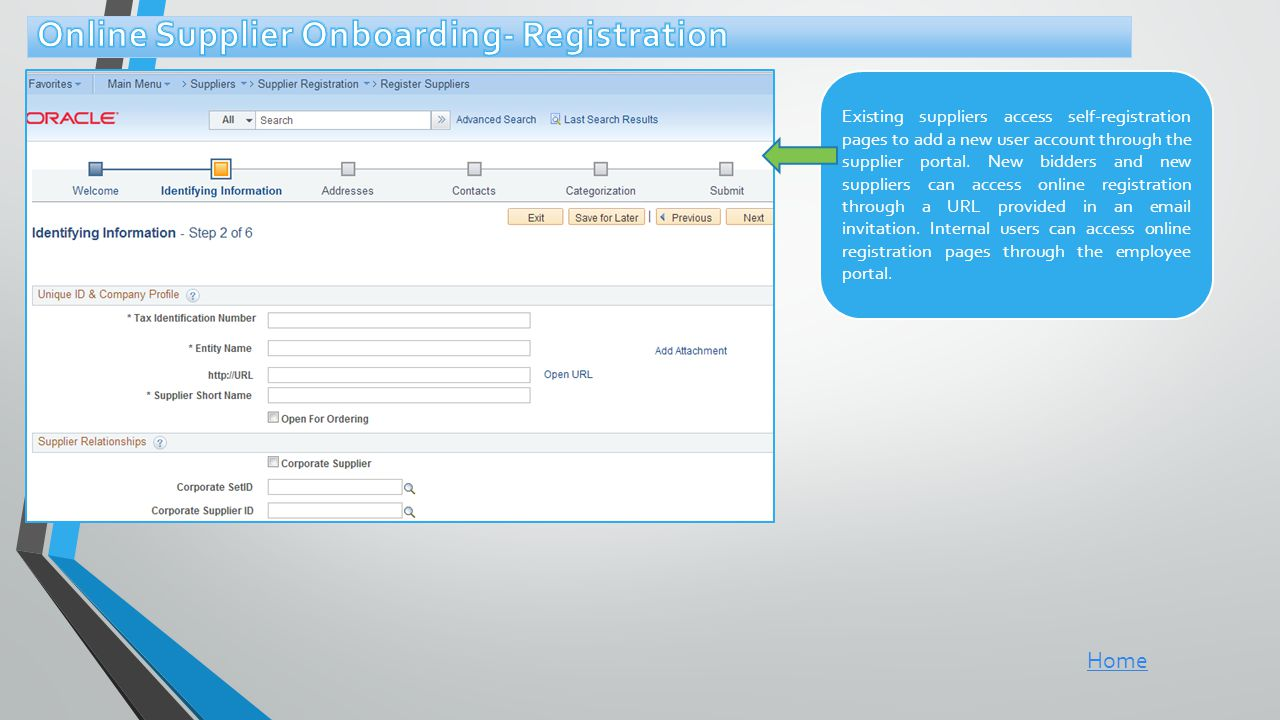 Online Supplier Onboarding- Registration
