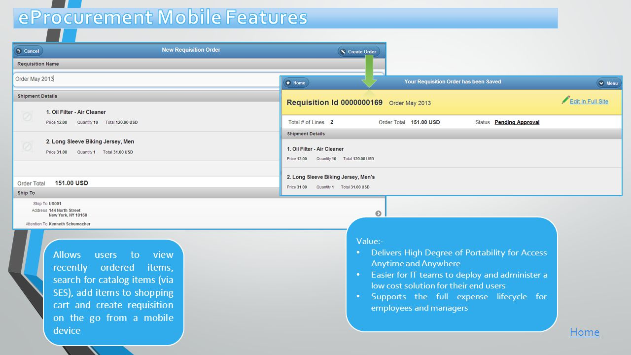 eProcurement Mobile Features