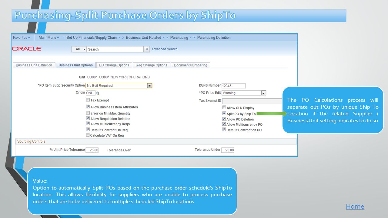 Purchasing-Split Purchase Orders by ShipTo