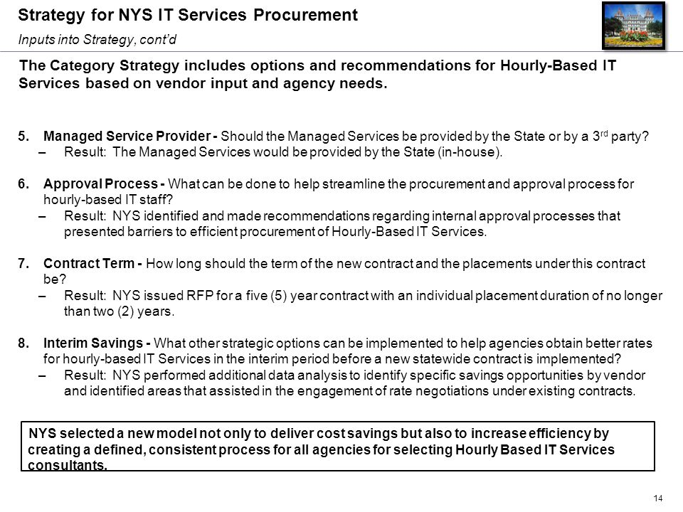 Strategy for NYS IT Services Procurement