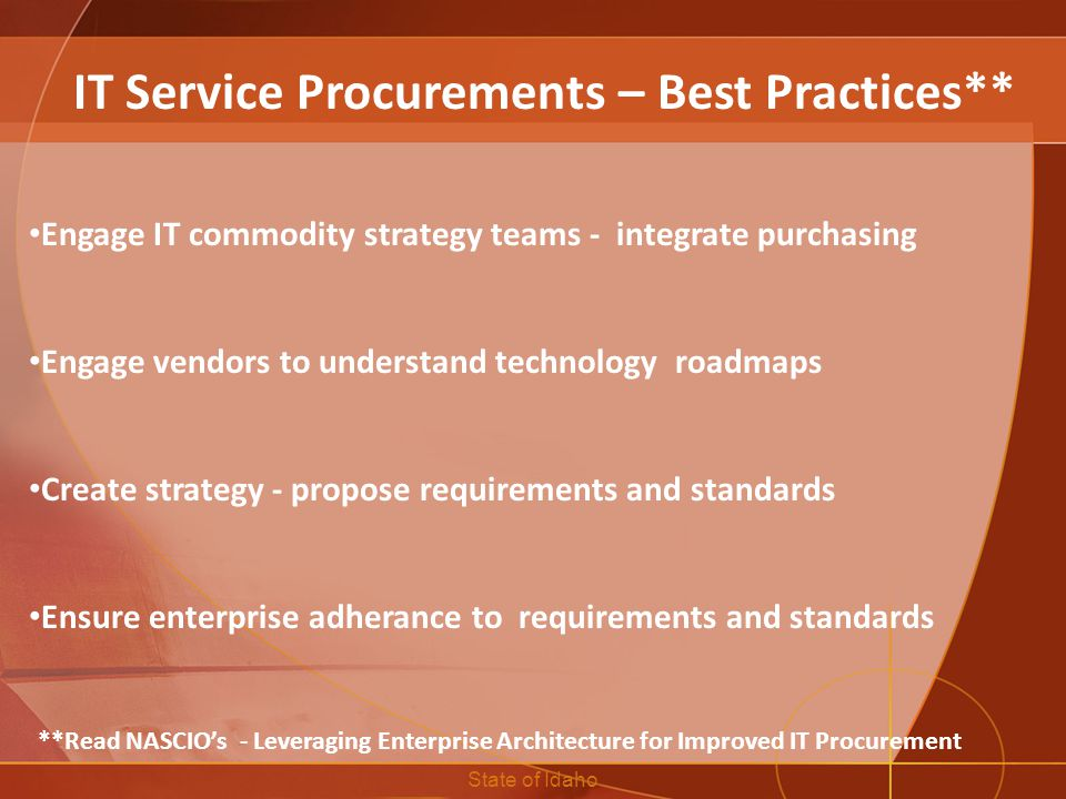 IT Service Procurements – Best Practices**