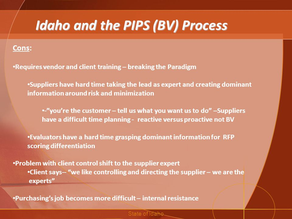 Idaho and the PIPS (BV) Process