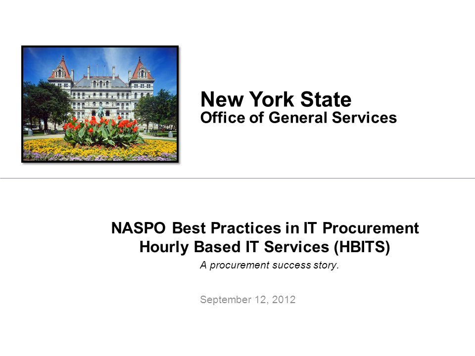 NASPO Best Practices in IT Procurement Hourly Based IT Services (HBITS)