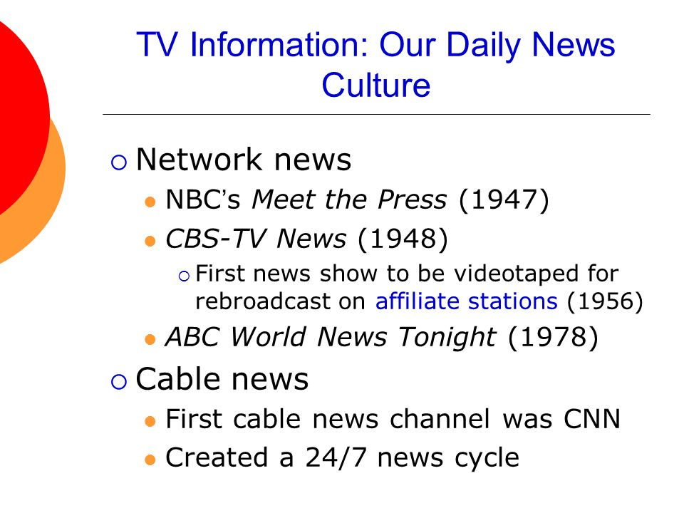 TV Information: Our Daily News Culture