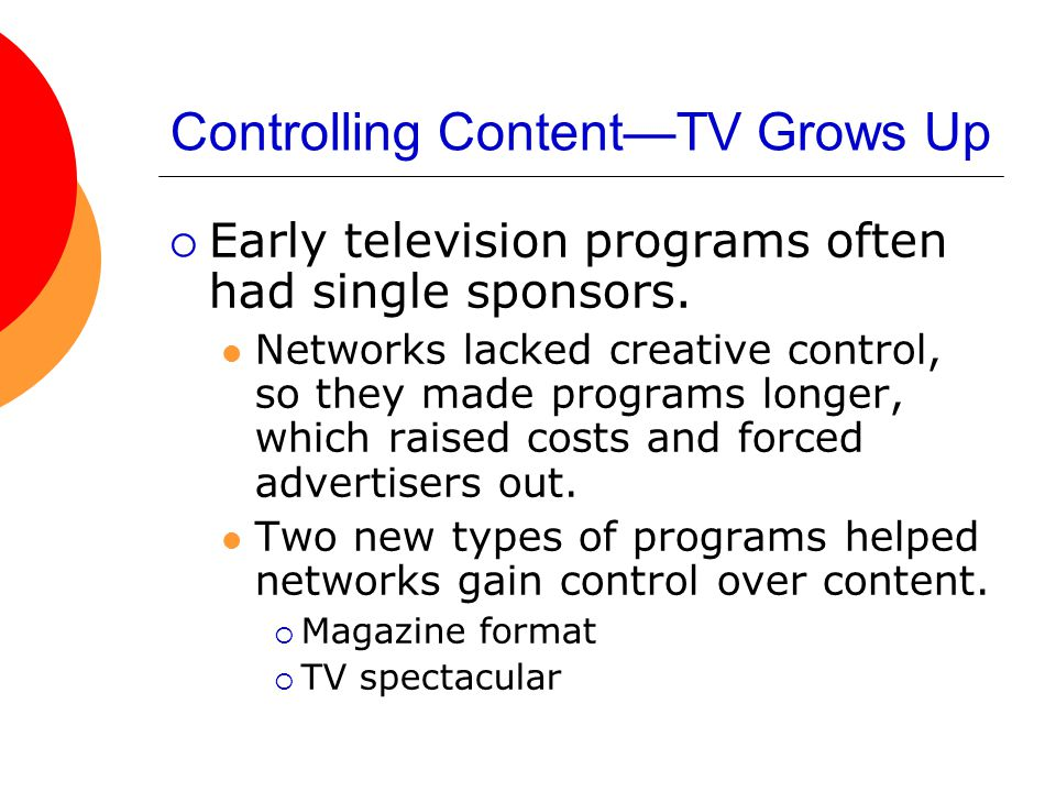 Controlling Content—TV Grows Up