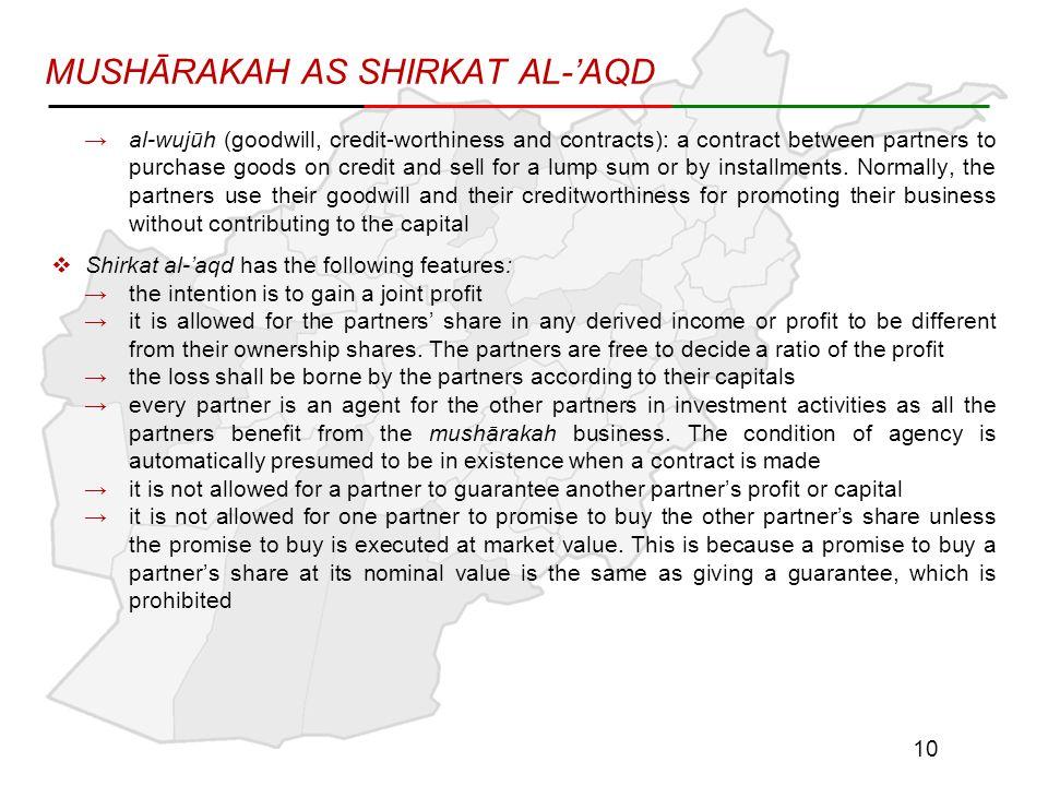 MUSHĀRAKAH AS SHIRKAT AL-'AQD