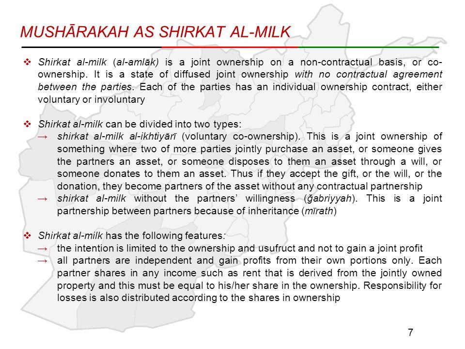 MUSHĀRAKAH AS SHIRKAT AL-MILK