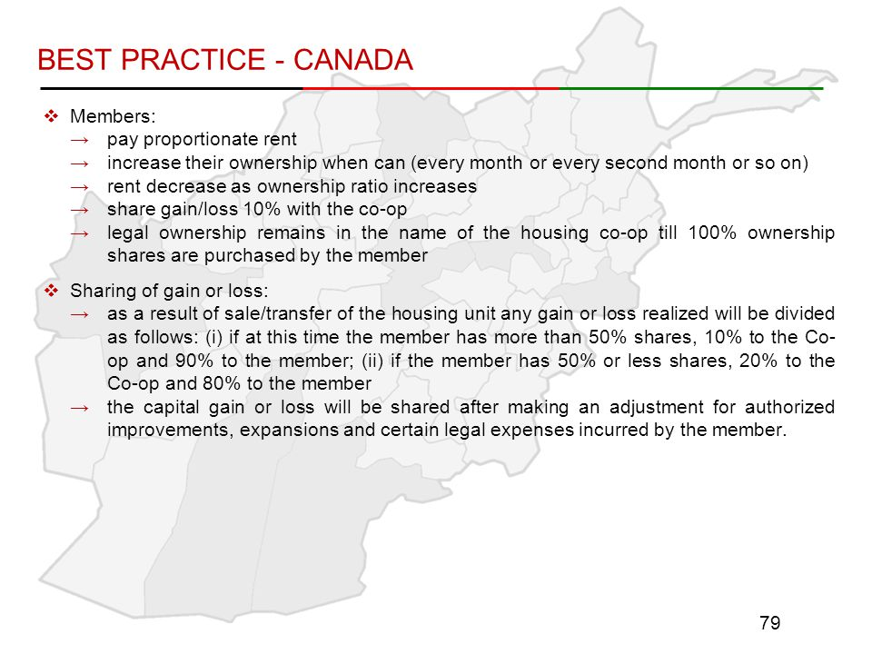 BEST PRACTICE - CANADA Members: pay proportionate rent