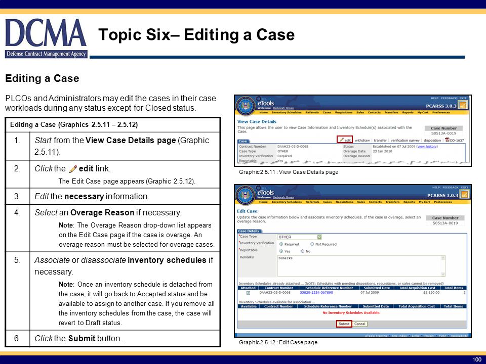 Topic Six– Editing a Case