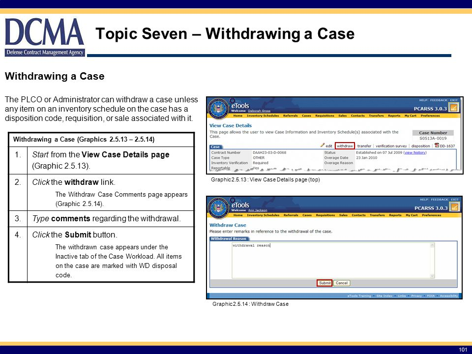 Topic Seven – Withdrawing a Case